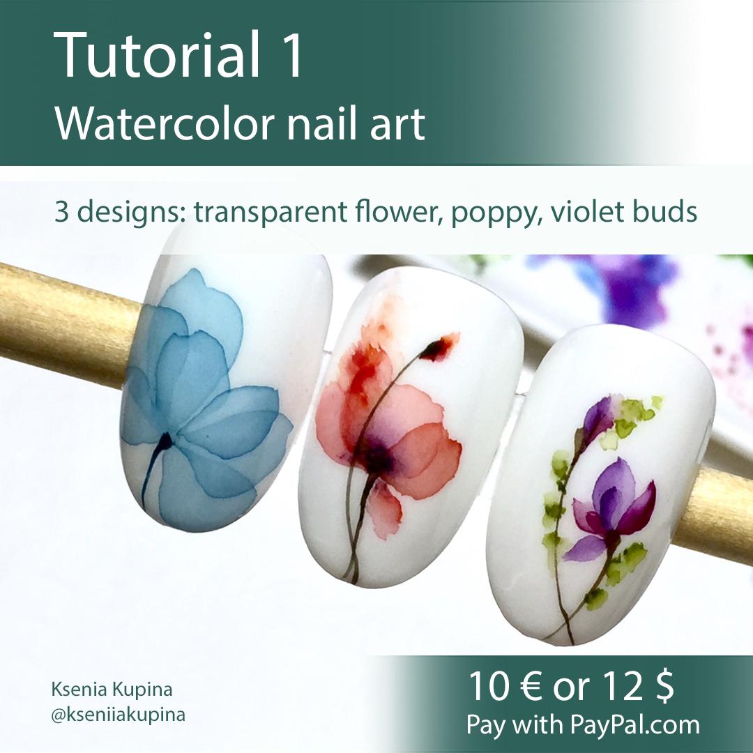 Tutorials watercolor nail art   Nail Art